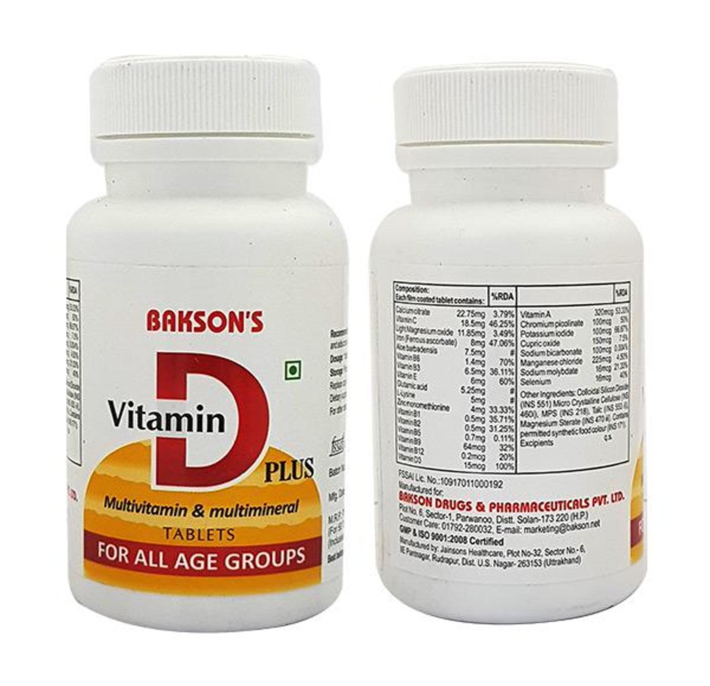Bakson Vitamin D Plus Tablet Homeopathic Medicine style=