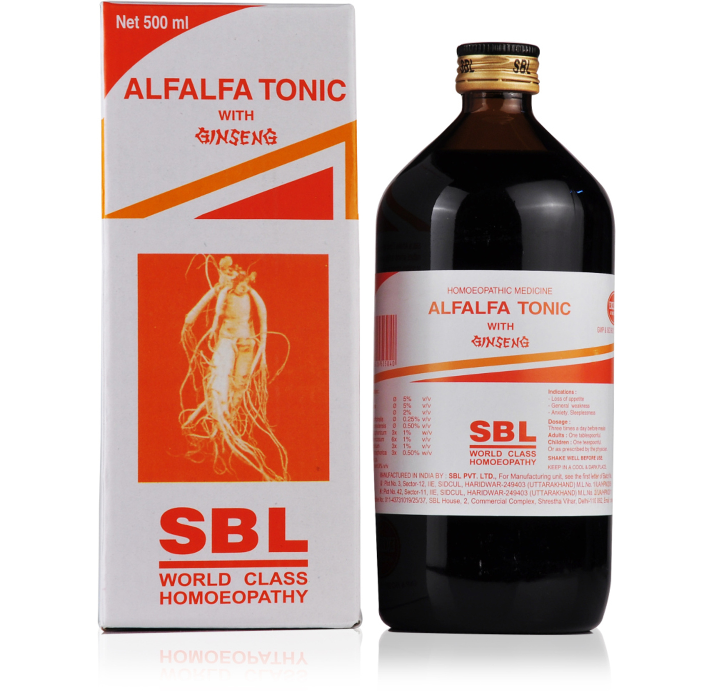 SBL Alfalfa Tonic with Ginseng Homeopathic Medicine style=
