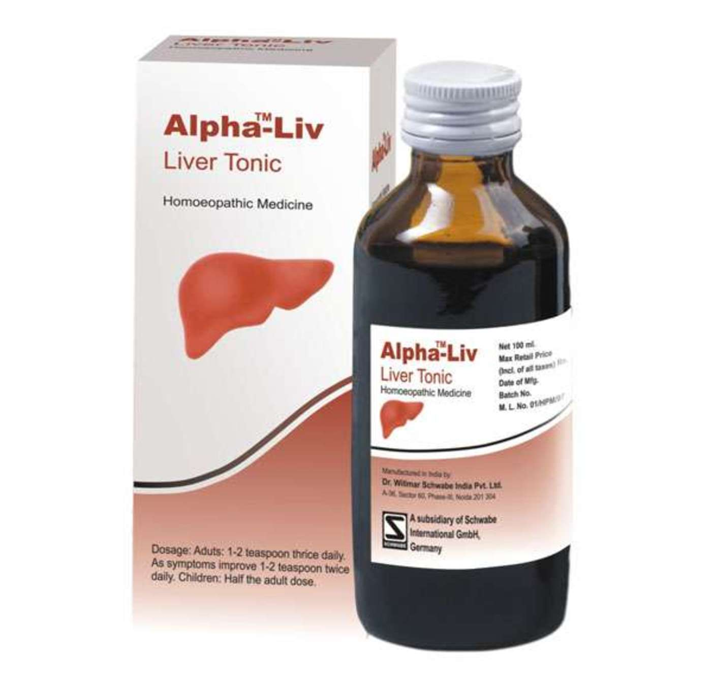 Dr Willmar Schwabe India Alpha-Liv Liver Tonic Homeopathic Medicine style=
